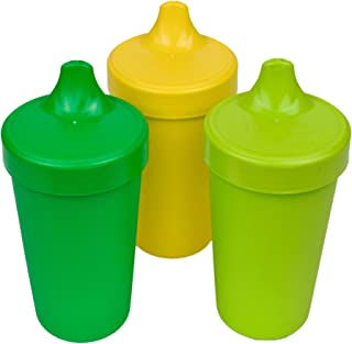 product image for RE-PLAY Made in USA 3pk - 10 oz. No Spill Sippy Cups | Kelly, Yellow, Lime Green | Eco Friendly Heavyweight Recycled Milk Jugs | Virtually Indestructible | BPA Free | Stem