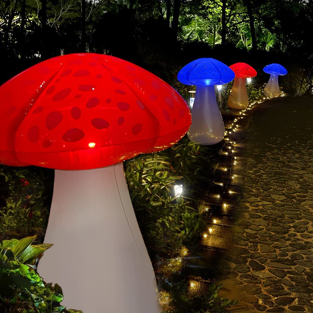 MeiGuiSha Solar Lights Outdoor Garden Decor 32? Inflatable Mushroom Garden Decor for Outside, Backyard, Step, Path, Courtyard(Single)