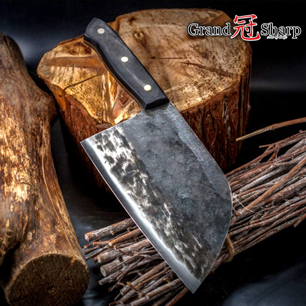 Best Quality Kitchen Knives Handmade Chef Knife Clad Steel Hong Kong Cleaver Professional Kitchen Knives Meat Vegetables Slicing Chopping Tool by Tini