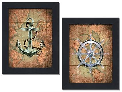Amazon framed set of 2 nautical old world map anchor wheel framed set of 2 nautical old world map anchor wheel sailing ocean wall decor art prints gumiabroncs Images