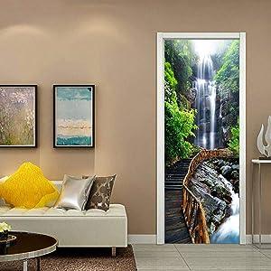 ColorSpring 3D Plank Road and Waterfall Door Decal Door Stickers Decor Door Mural Removable Vinyl Door Wall Mural Door Wallpaper for Home Décor(MT-056)