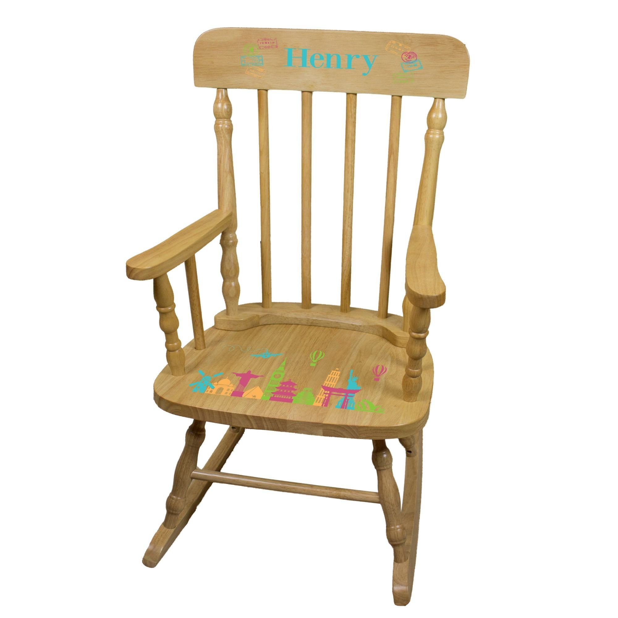 MyBambino Personalized World Travel Pink Natural Wooden Childrens Rocking Chair