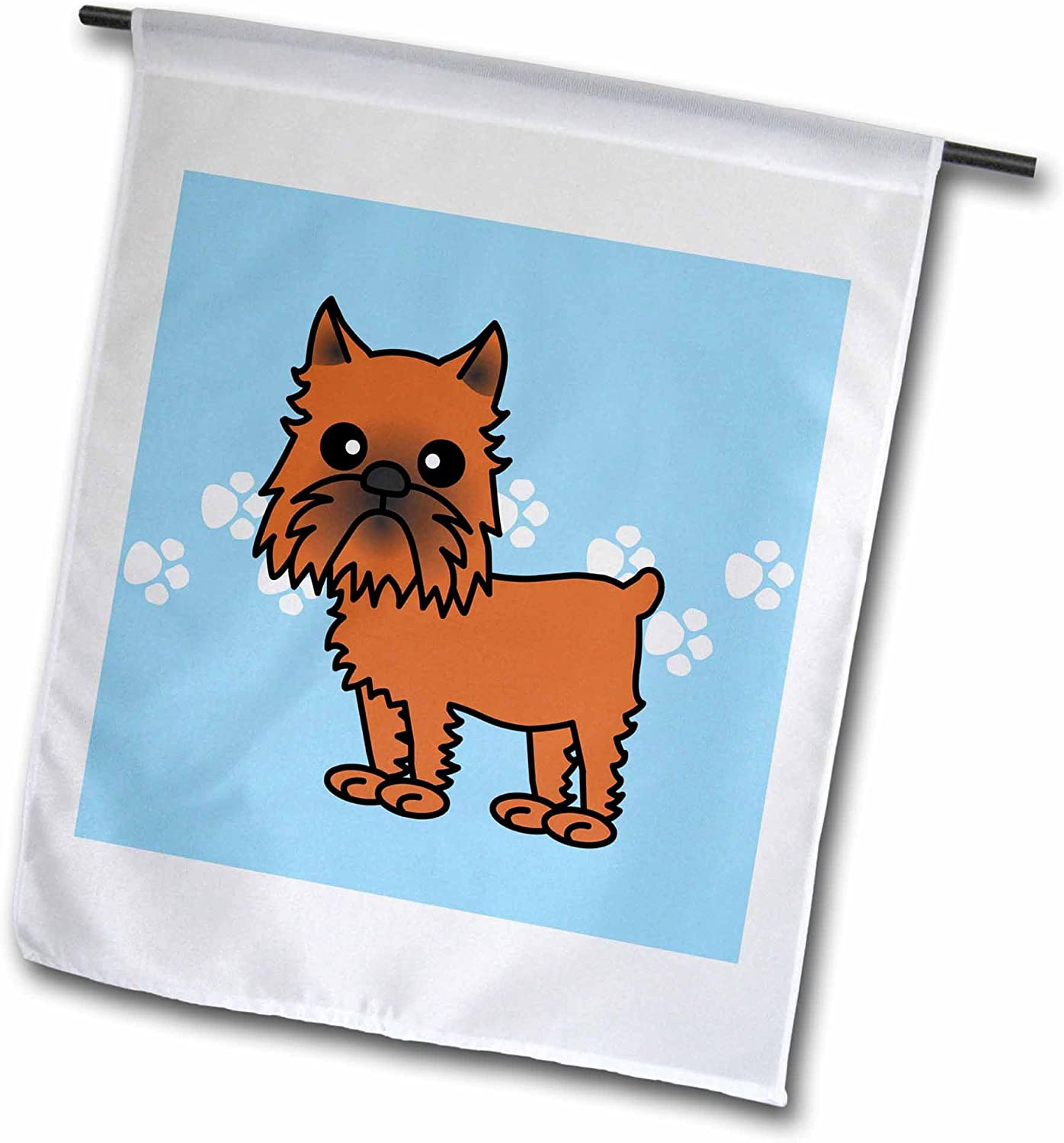 "3dRose fl_31200_1""Cute Brussels Griffon Cropped Ears Blue with Pawprints Garden Flag, 12 x 18"