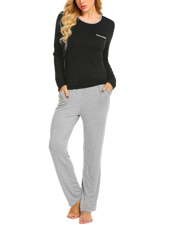 MAXMODA Damen Schlafanzug Zweiteiliger Pyjama mit Tasches Langarmshirt und Hose Set AHK009615