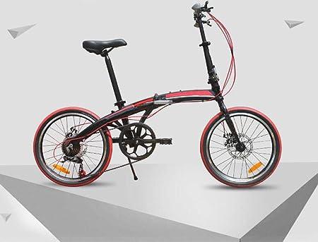 Bicicleta De Aluminio De 20 Pulgadas Bicicleta Plegable De 7 Velocidades Bicicleta Super Ligera Ciclismo Bicicleta De Montaña Regalo De La Bicicleta Del Coche,Red-20in: Amazon.es: Hogar