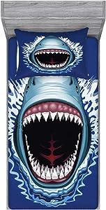 Ambesonne Shark Fitted Sheet & Pillow Sham Set, Attack of Open Mouth Sharp Teeth Sea Danger Wildlife Ocean Life Cartoon, Decorative Printed 2 Piece Bedding Decor Set, Twin, Blue Grey