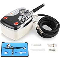 GaGa Mini Compressor Kit Airbrush Kit Dual Action Air Brush Kit Spray Gun Craft Tattoo 0.3mm, for Make up Art Painting Tattoo Manicure Craft Cake