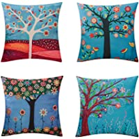 Large Tree Decorative Throw Pillow Case Cushion Cover Pillowcase for Sofa 18 x 18 Inches Set of 4