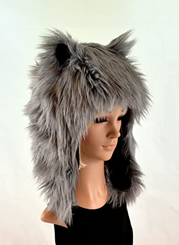 5154cd7d1b520 Amazon.com  Grey Wolf Hat Faux Fur Animal Hat  Handmade