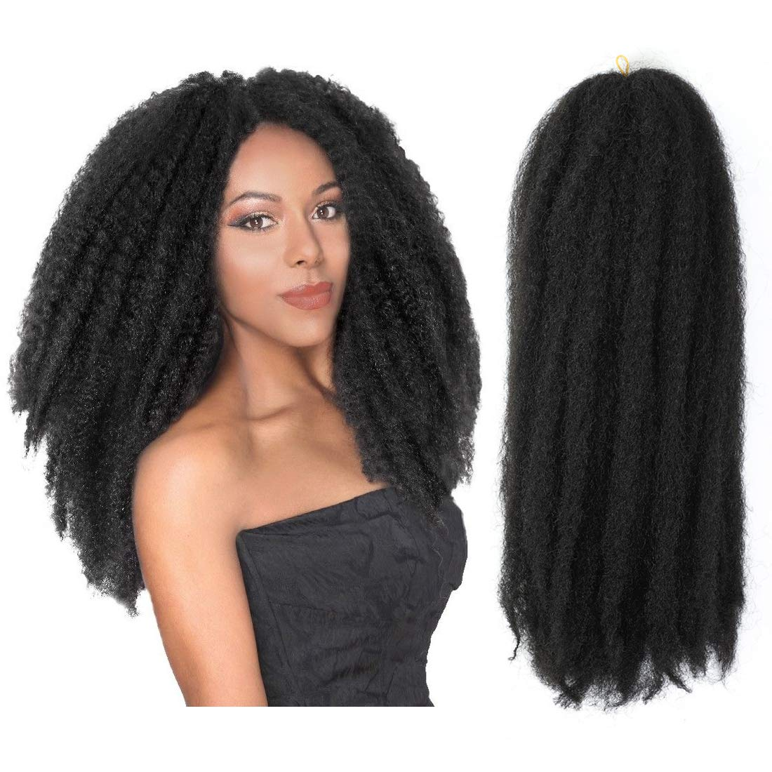 Afro Kinkys Curly Hair Extensions Long Afro Kinky Marley Twist Braiding Hair For Women And Girl 4 Bundles (18 inch, 1B#)