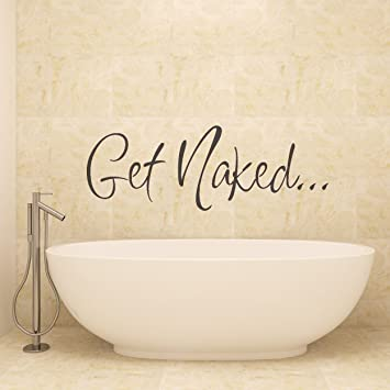 Vu0026C Designs Ltd (TM) Get Naked Bathroom Shower Room Wall Sticker Wall Art  Vinyl Wall Decal Wall Mural   Regular Size (Large Size Also Available): ...