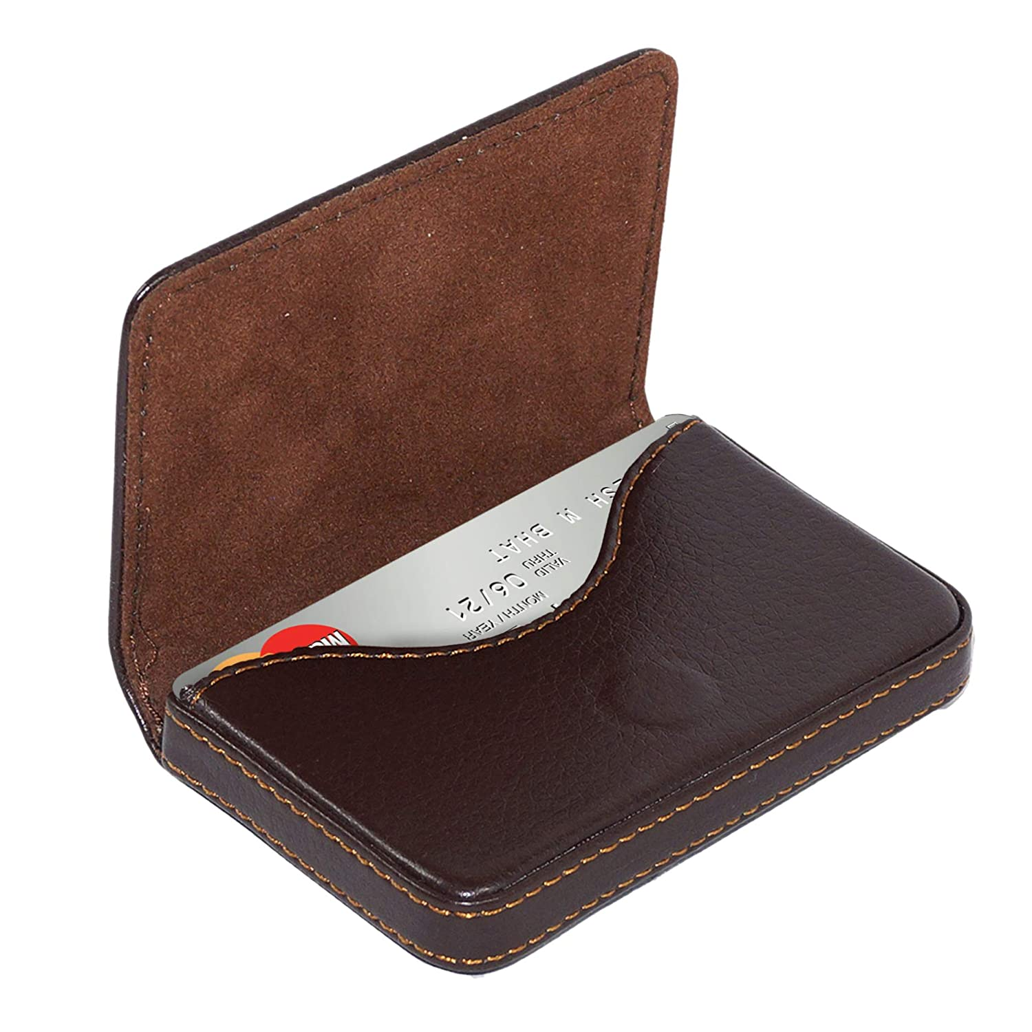 competitive price 3068e c1606 NISUN Leather Pocket Sized Business/Credit/ATM Card Holder case Wallet with  Magnetic Shut for Gift Brown (1 Pack)
