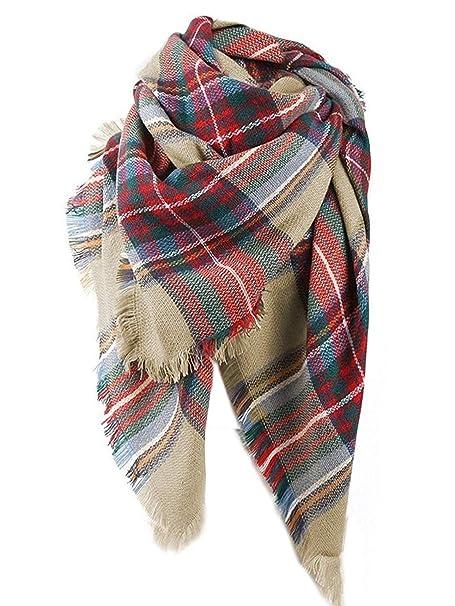 e304069cfeed8 Yanekop Womens Big Blanket Scarf Soft Warm Tartan Plaid Scarf Shawl Fashion  Wrap(Beige Mixed
