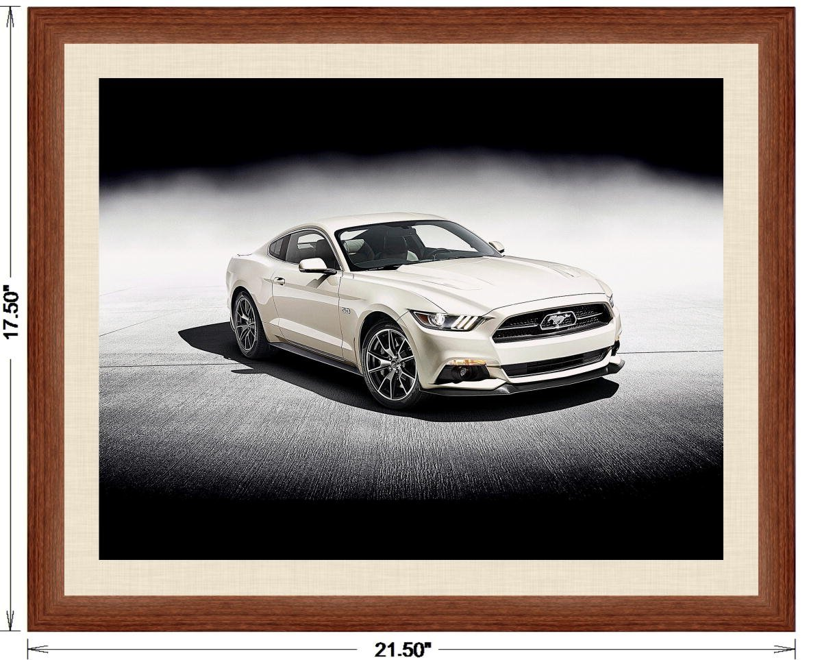 Amazon com ford mustang gt fastback 50 year limited edition 2015 framed car art poster print white front side studio view in dark walnut frame