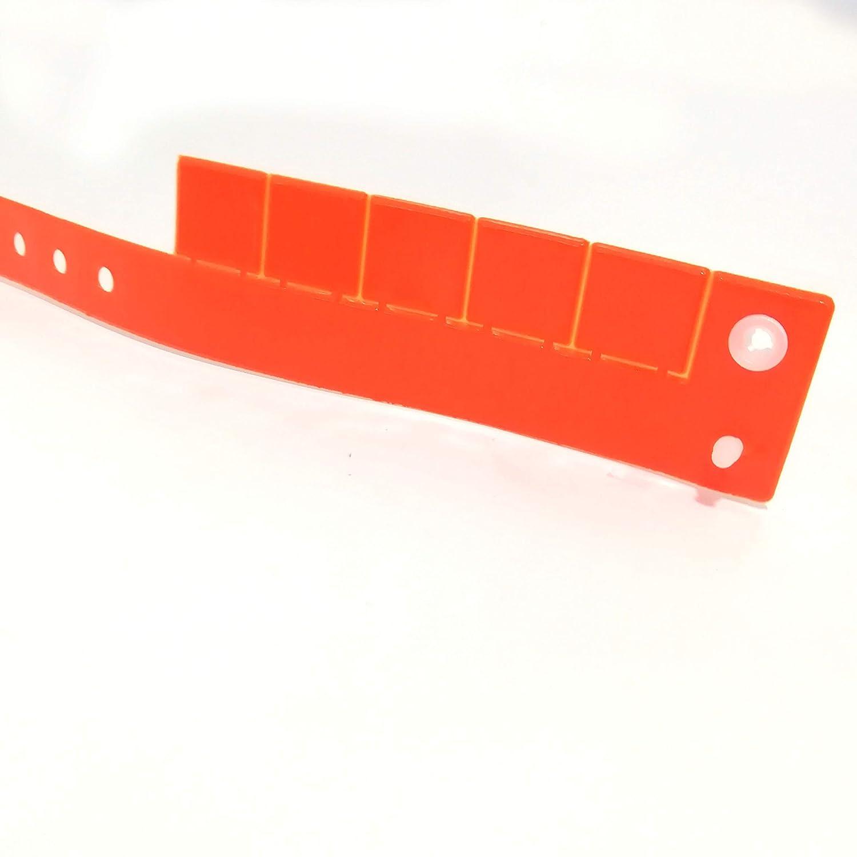 100 pulseras de pl/ástico y vinilo para eventos personalizables y resistentes al agua con 5 cupones desmontables color turquesa