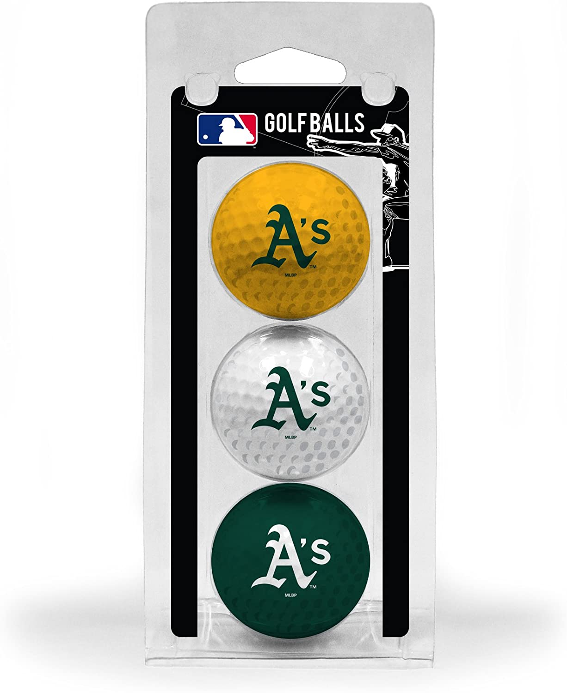 Team Golf MLB Oakland Athletics Regulation Size Golf Balls, 3 Pack, Full Color Durable Team Imprint : Sports Fan Golf Balls : Sports & Outdoors