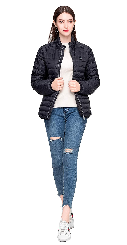 Manteau zipp/é avec Batterie JEMPET Doudoune Manteau dhiver en Duvet pour Femmes r/ésistance au Froid