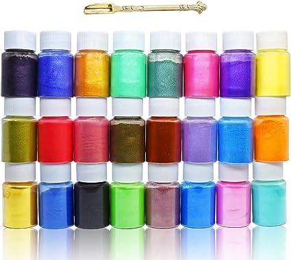 Pigmento de Resina Epoxi - 24 Colores x 10g Mica en polvo Tinte de Resina Epoxi - Colorante de Limo de Grado Cosmético para Fabricación de Jabón Bomba ...