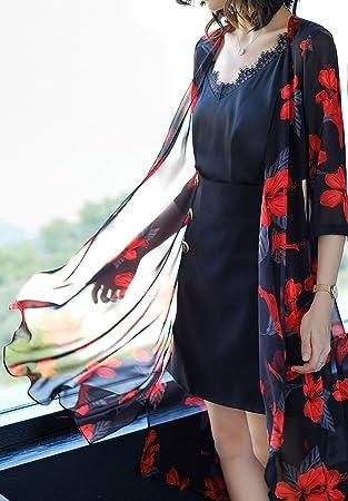 HUAN Cárdigan de Chifón Largo de la Mujer Tops de Blusa de Kimono Cubren la Blusa