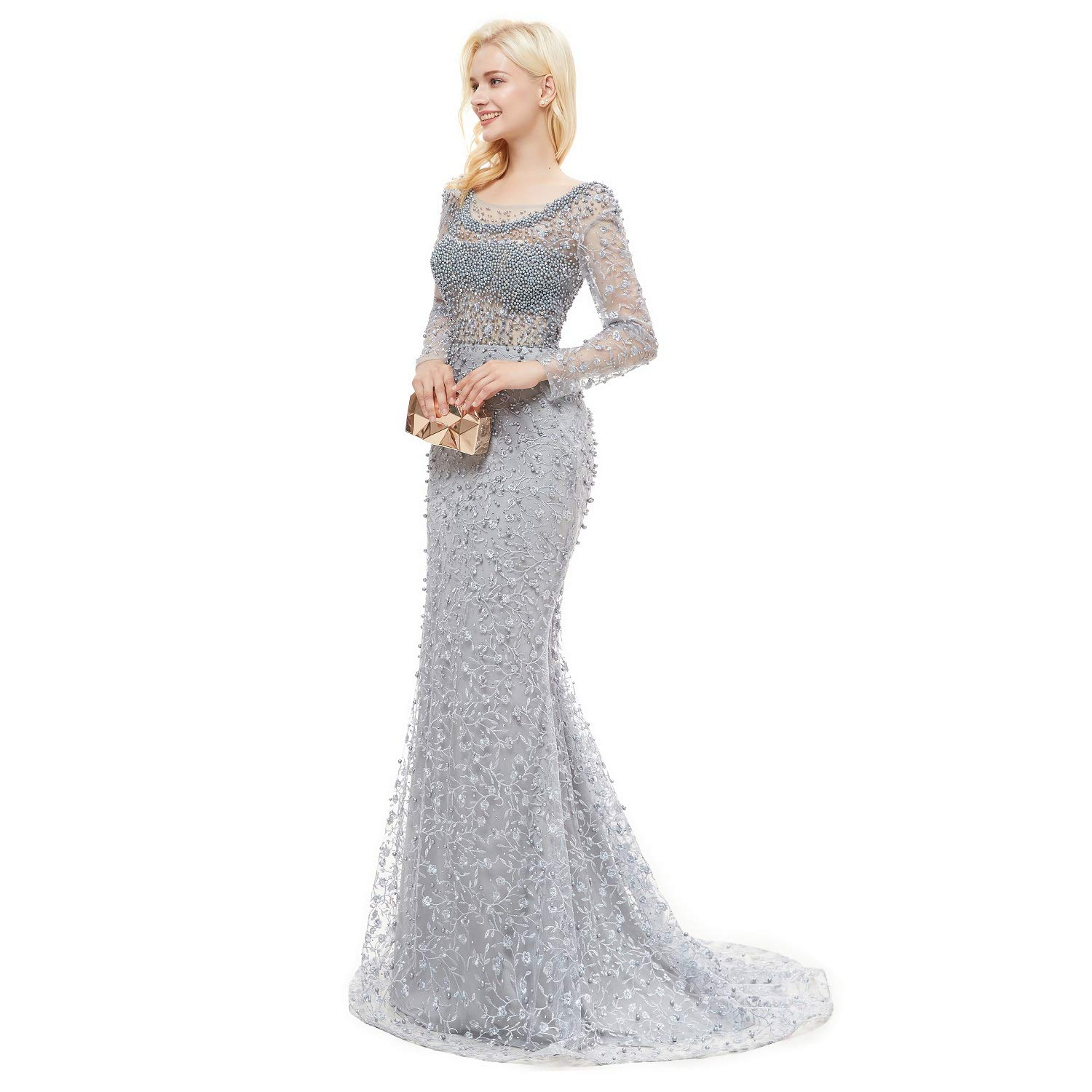 ba7fdf3e53ee Amazon.com  Leyidress Womne s Pink Pearl Lace Crystal Mermaid Evening  Dresses Party Long Sleeve Prom Dresses Bridal Pageant Gown US 2-16  Clothing
