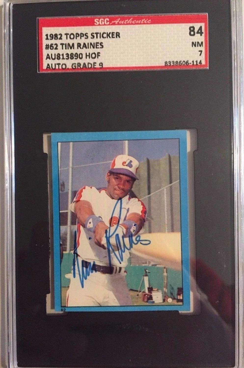 1982 Topps Sticker Autographed Signed #62 Autographed Signed Tim Raines Sgc 84 Nm 7W 9 Certified Authentic