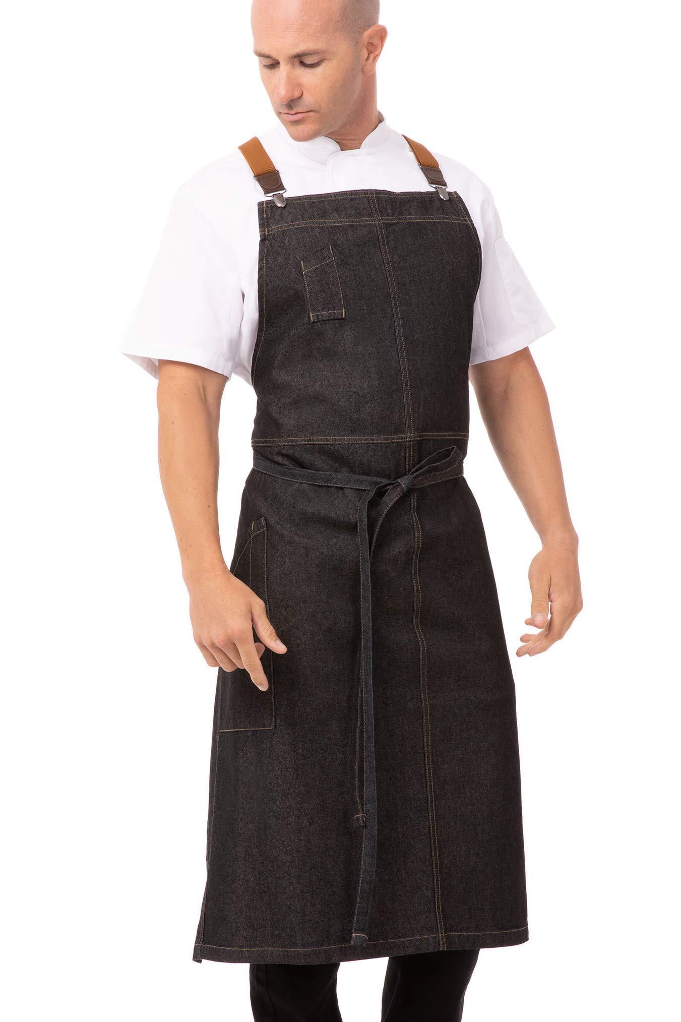 Chef Works Men's Berkeley Chefs Bib Apron, Black, One Size by Chef Works