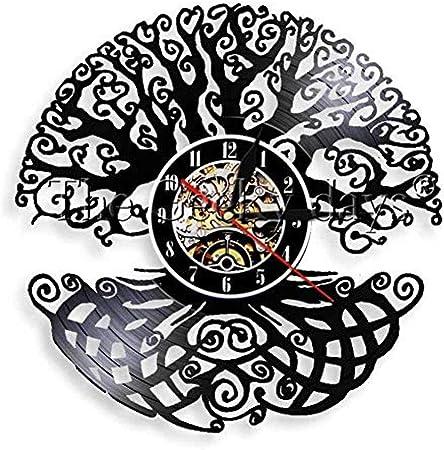 thetobea 1 Pieza Árbol de la Vida Geometría Sagrada Luces de Noche LED Árbol Sagrado Vintage Vinyl Record Reloj de Larga duración Green Life Shadow Art @ No_Led: Amazon.es: Hogar