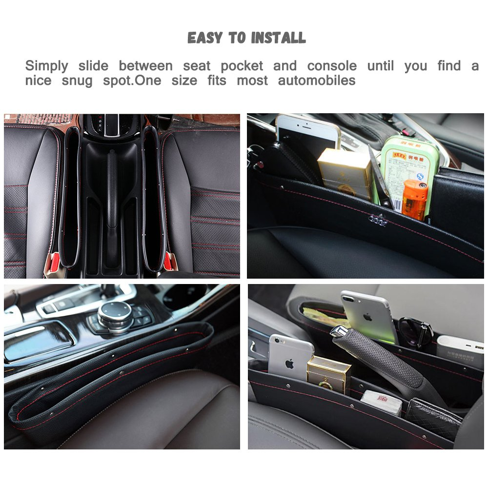 """2 Pack Universal Car Organizer Holder Pocket with 1 Mini Duster 13.7/"""" * 4.3/"""" * 2/"""" SENHAI PU Leather Fill the Gap Seat Side Console Accessory Storage for Phone Keys Cards Coins Bills Black"""