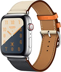 MroTech 38mm/40mm Leather Band Men Women Loop Leather Replacement Wristband Compatible with iWatch Series 40 mm and 38 mm Series 2 Series 3 Sereis 4 Series 5 Series 6/SE Bracelet Indigo Craie Orange