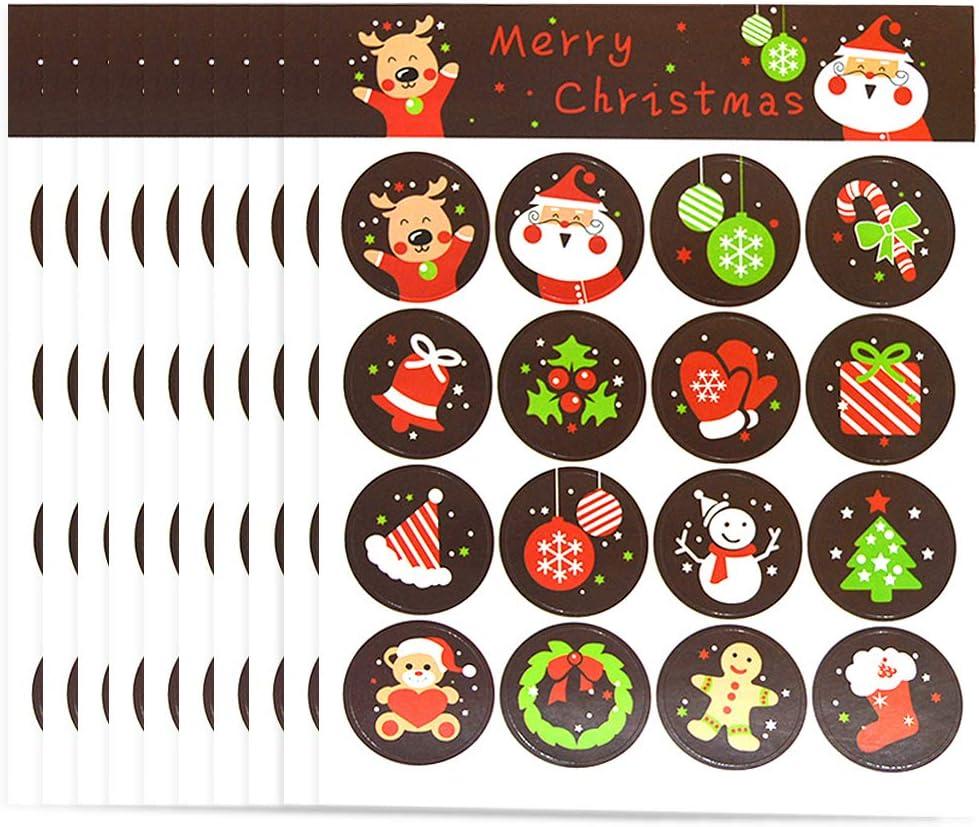 Pegatinas Navideñas Etiquetas Adhesivas Navidad Stickers 320 Regalo de Navidad Etiqueta Pegatinas Etiquetas Autoadhesivo Papá Noel Muñeco de nieve Árbol de Navidad Festivales Festivos Cumpleaños