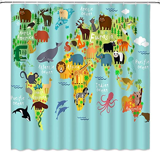 amazon com lileihao animal map shower curtains cartoon animals world maps continental plate blue ocean kids children bathroom curtain set waterproof polyester home decor 69 x 70 inch included ring hooks green home amazon com