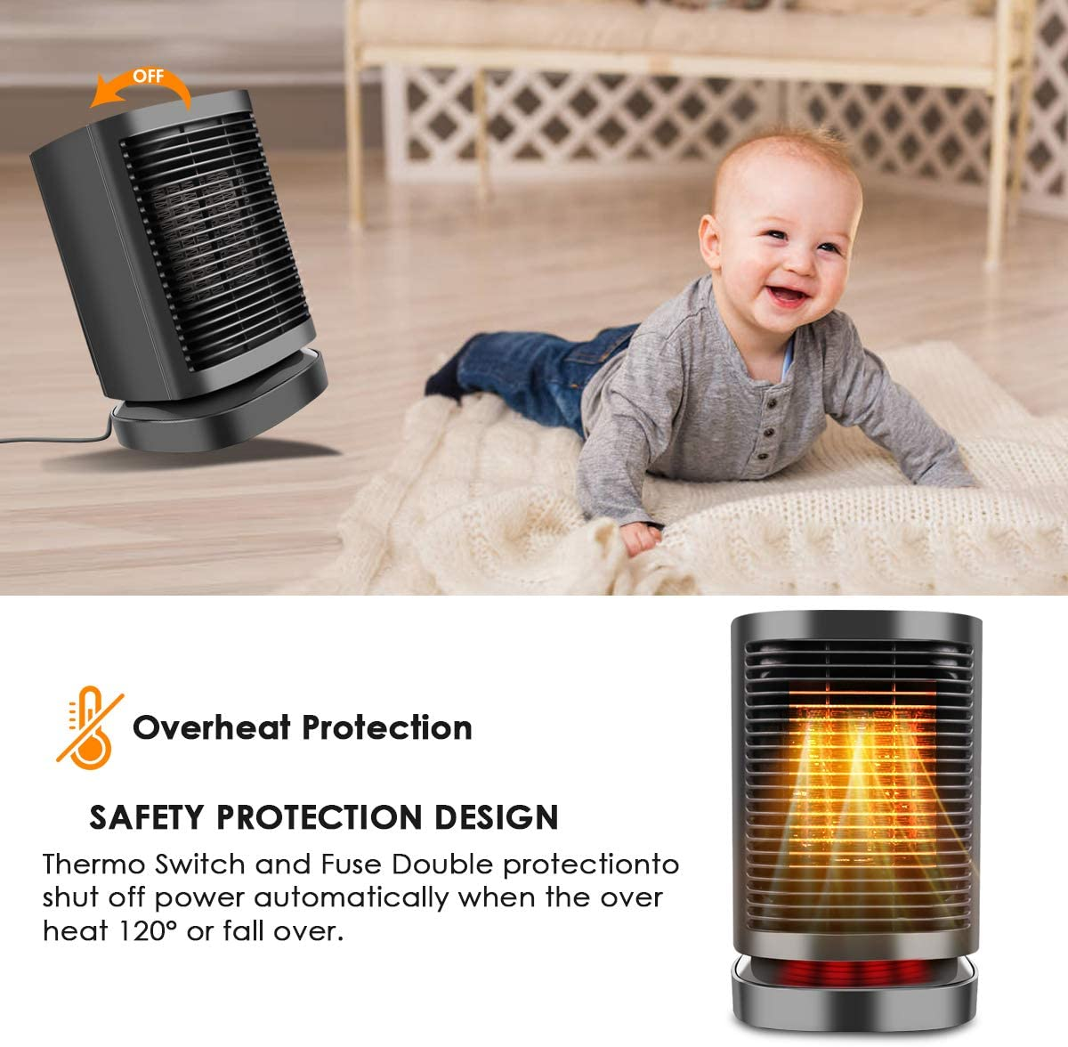 Personal Space Heater with Adjustable Thermostat Over-Heat /& Tilt Protection Fast Heating KoolaMo Space Heater Perfect for Home or Office Portable 950W Mini Oscillating Ceramic Electric Heater