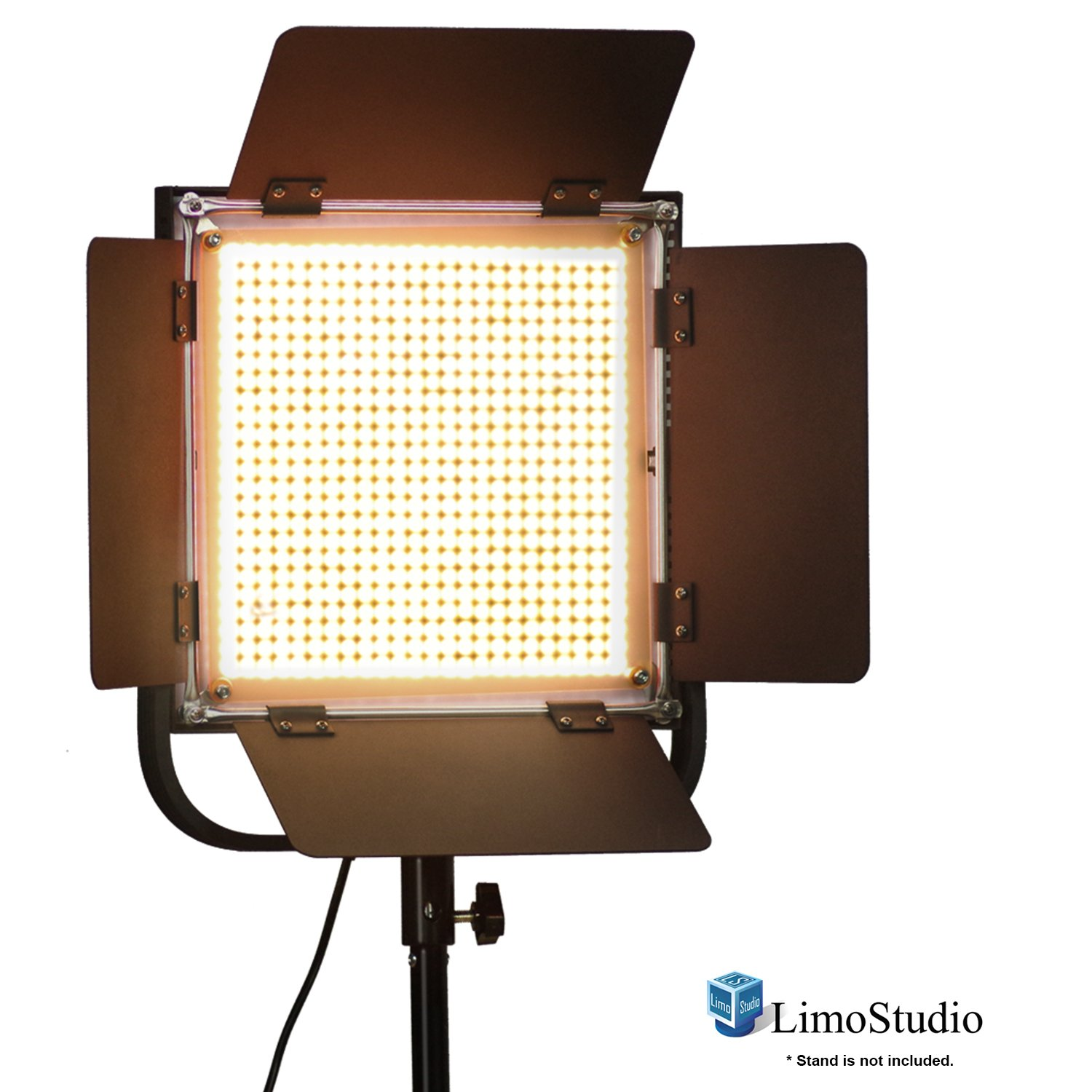 LimoStudio LED 600 Photographic Lighting Panel with Digital Display Screen, Photo Studio Barndoor Light, Continuous Video Light, Brightness Control Available with Cleaning Cloth, AGG2383