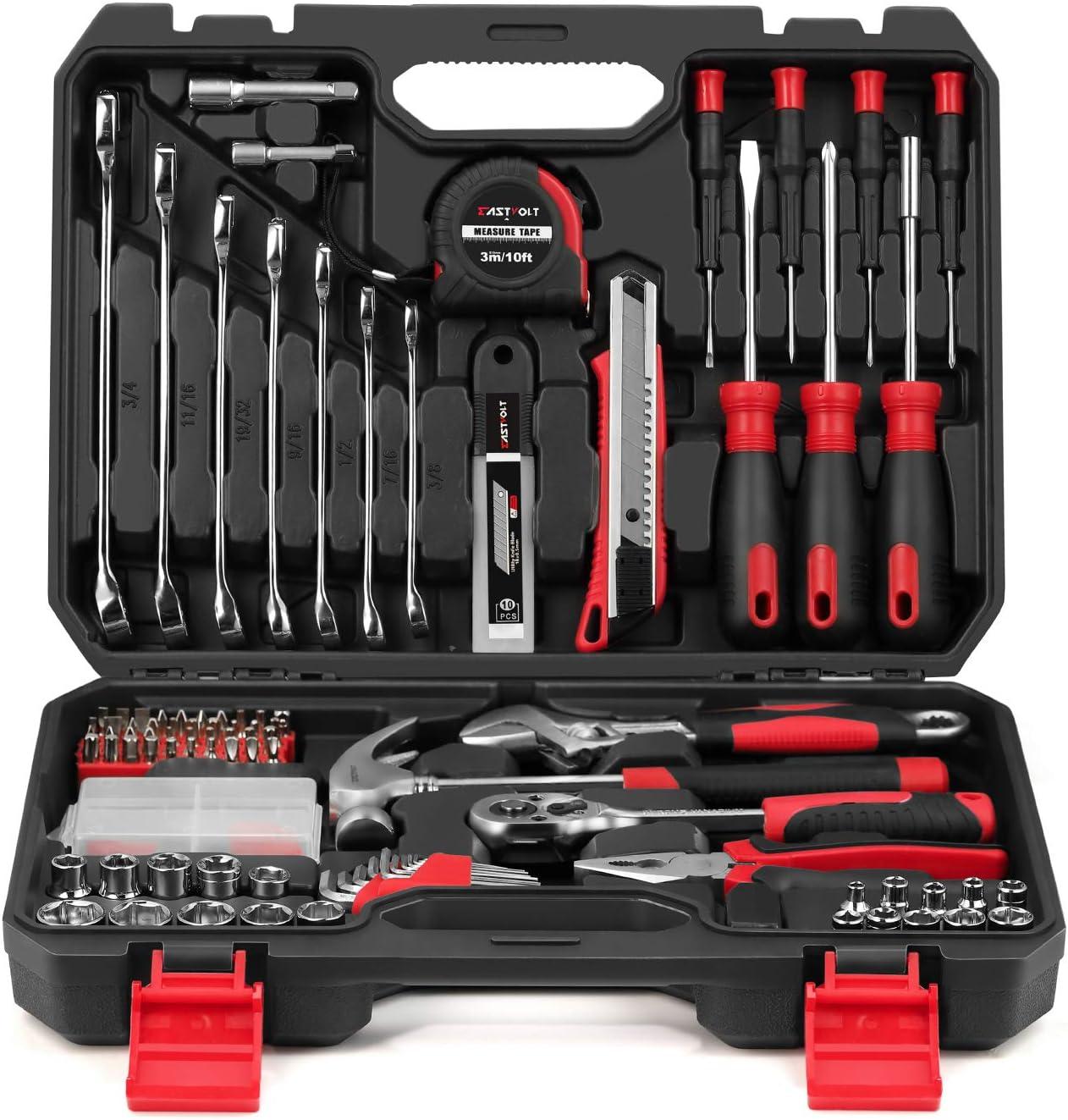 158-Piece Home Repair Tool Set, EASTVOLT General Household Hand Tool Kit,Auto Repair Tool Set, with Storage Tool Box, EVHT15801