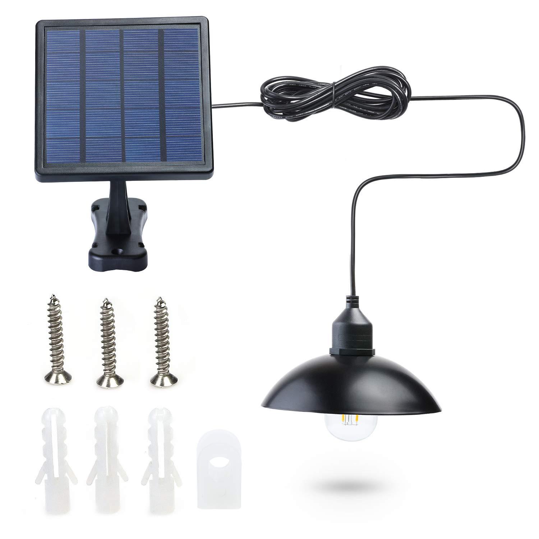 Kyson Outdoor Solar Powered Shed Light Pendant Lamp Vintage Hanging Edison Bulb Barn Light for Garden Porch Umbrella (Style 1)