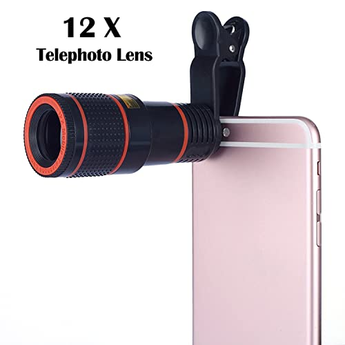 Aizbo® 12 x Zoom Lens Universal Telephoto Monocular Optical External Mobile Phone Telescope Phone Camera Lens Kit for iPhone 6S Plus/6S/6/5S/5C/5, Samsung Galaxy,LG, HTC, Moto, Nexus, Sony and More (Black)