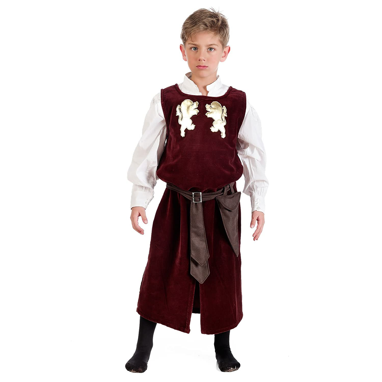 Medieval Page Costume Children Frock Coat With Shirt Red