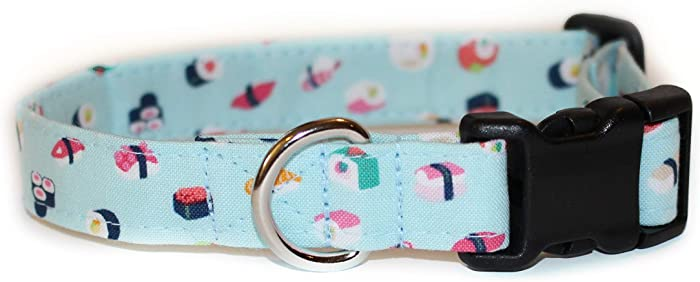 Sushi, Blue Food Designer Cotton Dog Collar, Adjustable Handmade Fabric Collars (S)