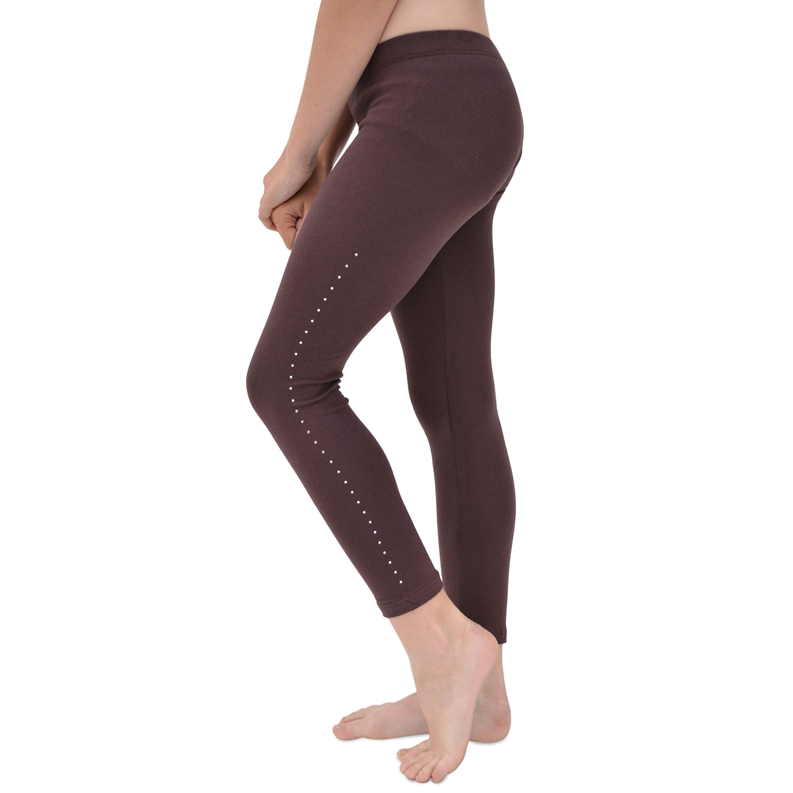 Stretch is Comfort Girl's Cotton Rhinestone Footless Leggings Brown Large