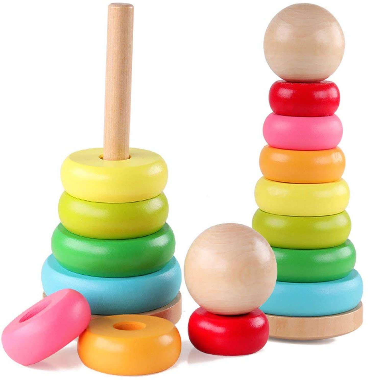 Jacootoys Rainbow Stacking Ring Sorting Wooden Blocks Educational Stacker Toys for Baby, Toddler