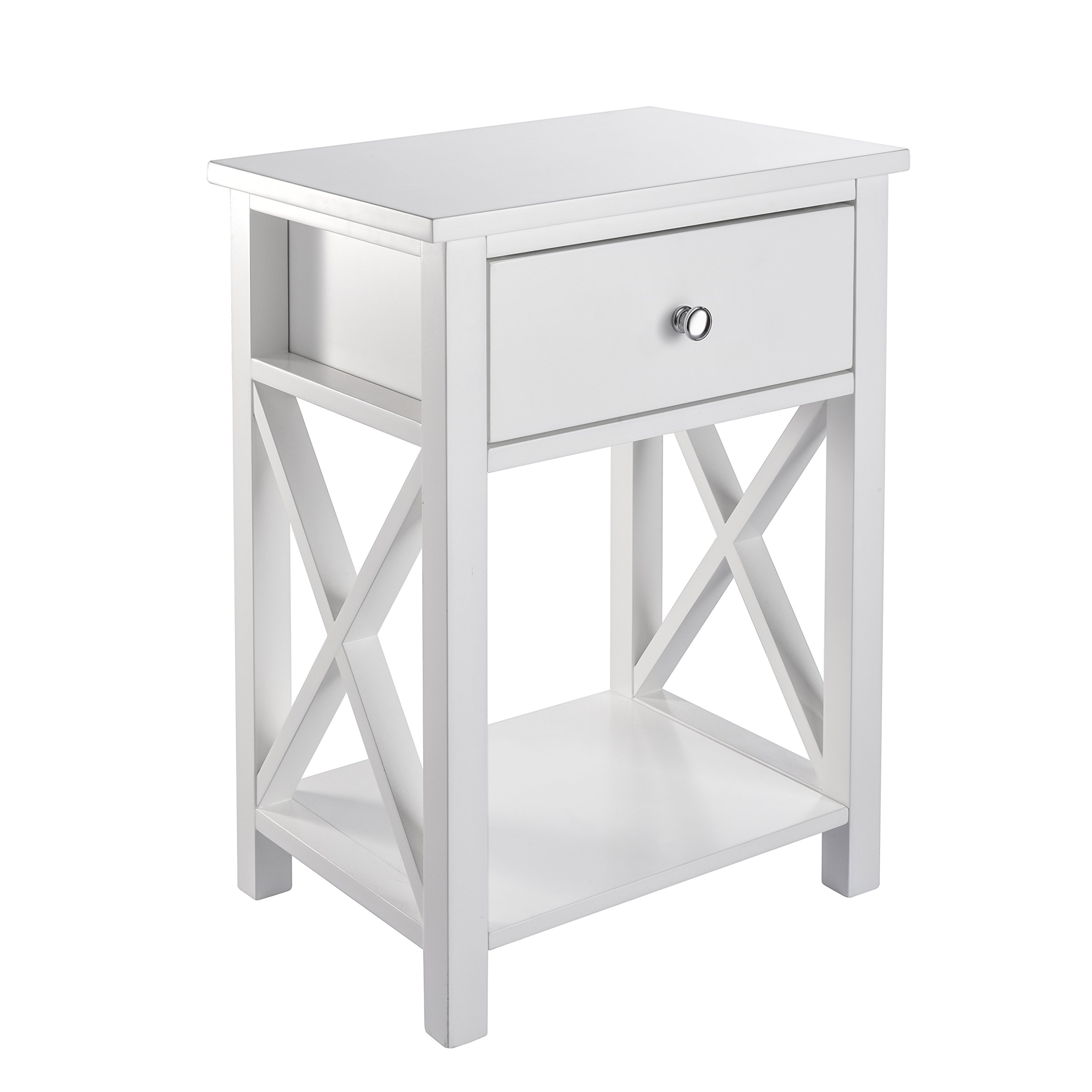 MAGIC UNION X-Design Side End Table Night Stand Storage Shelf with Bin Drawer by MAGIC UNION