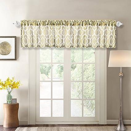 Amazon.com: NANAN Trellis Window Curtain Valance, Poly Linen Rod ...