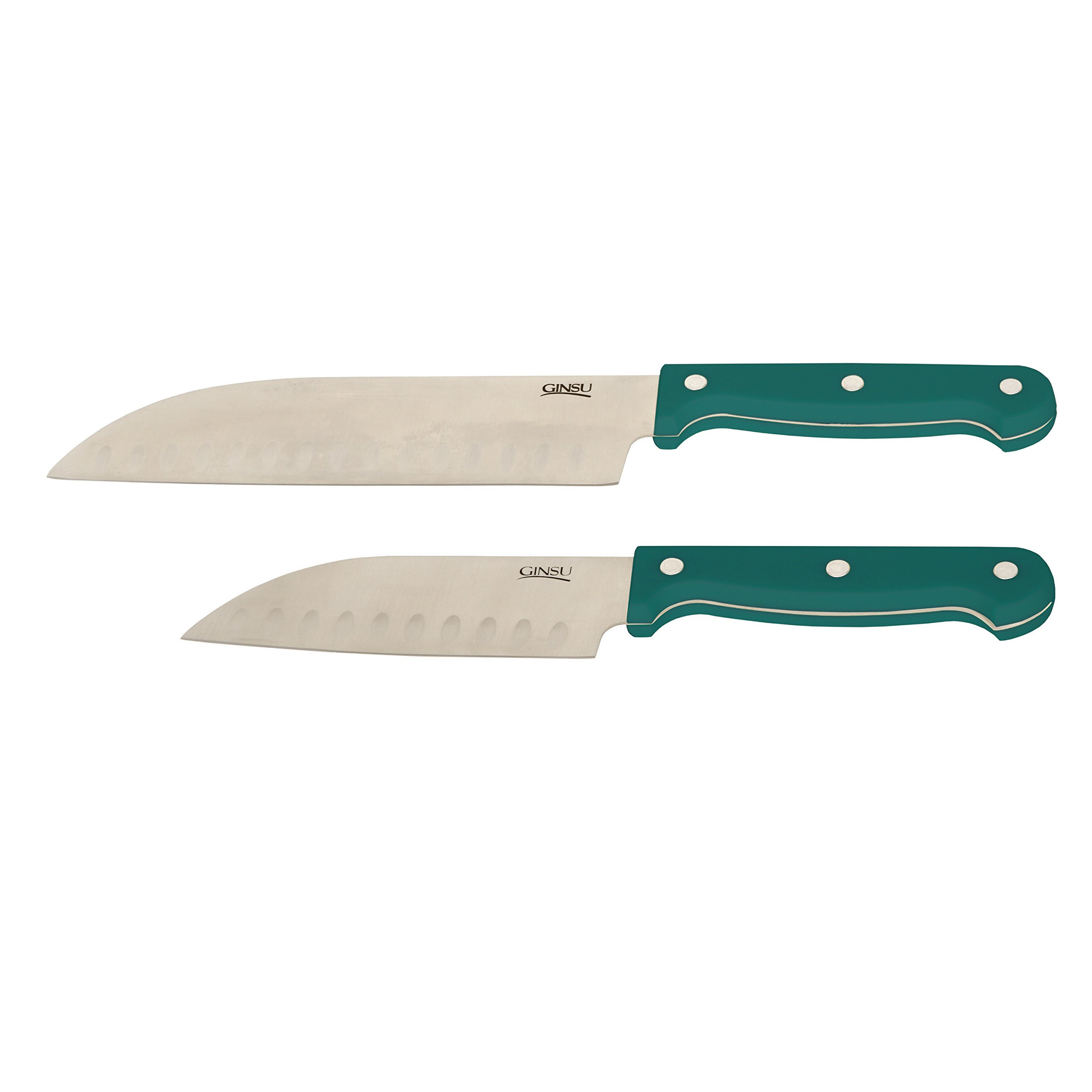 Ginsu Essential Series 2-Piece Stainless Steel Santoku Knife Set – Cutlery Set with Teal Kitchen Knives, 04861OTDS