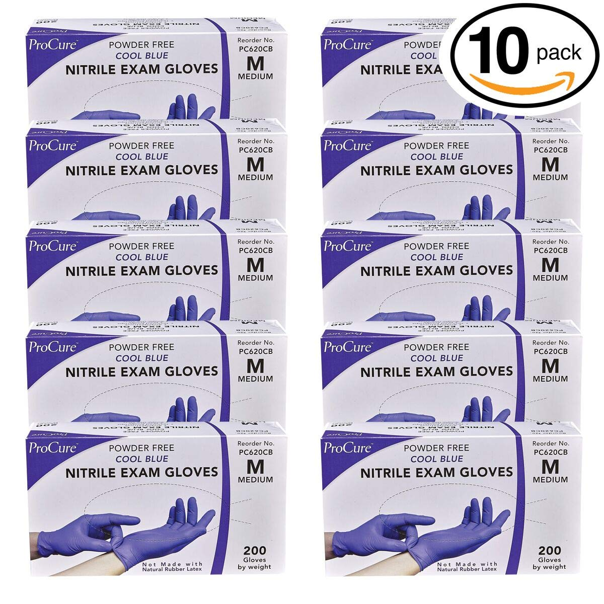 ProCure Disposable Nitrile Gloves – Powder Free, Rubber Latex Free, Medical Exam Grade, Non Sterile, Ambidextrous - Soft with Textured Tips – Cool Blue (Medium, 2000 Case)
