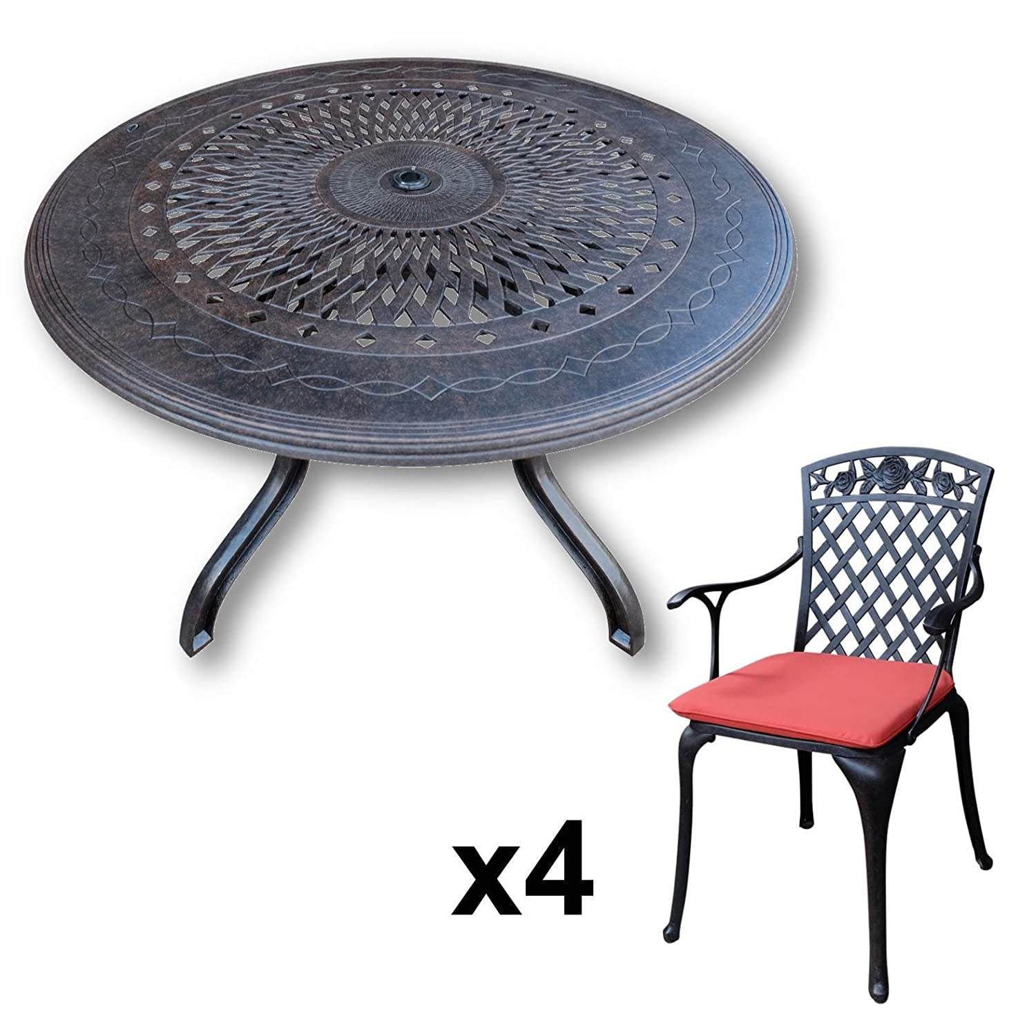 lazy susan amy 120 cm runder gartentisch mit 4 st hlen gartenm bel set aus metall antik. Black Bedroom Furniture Sets. Home Design Ideas