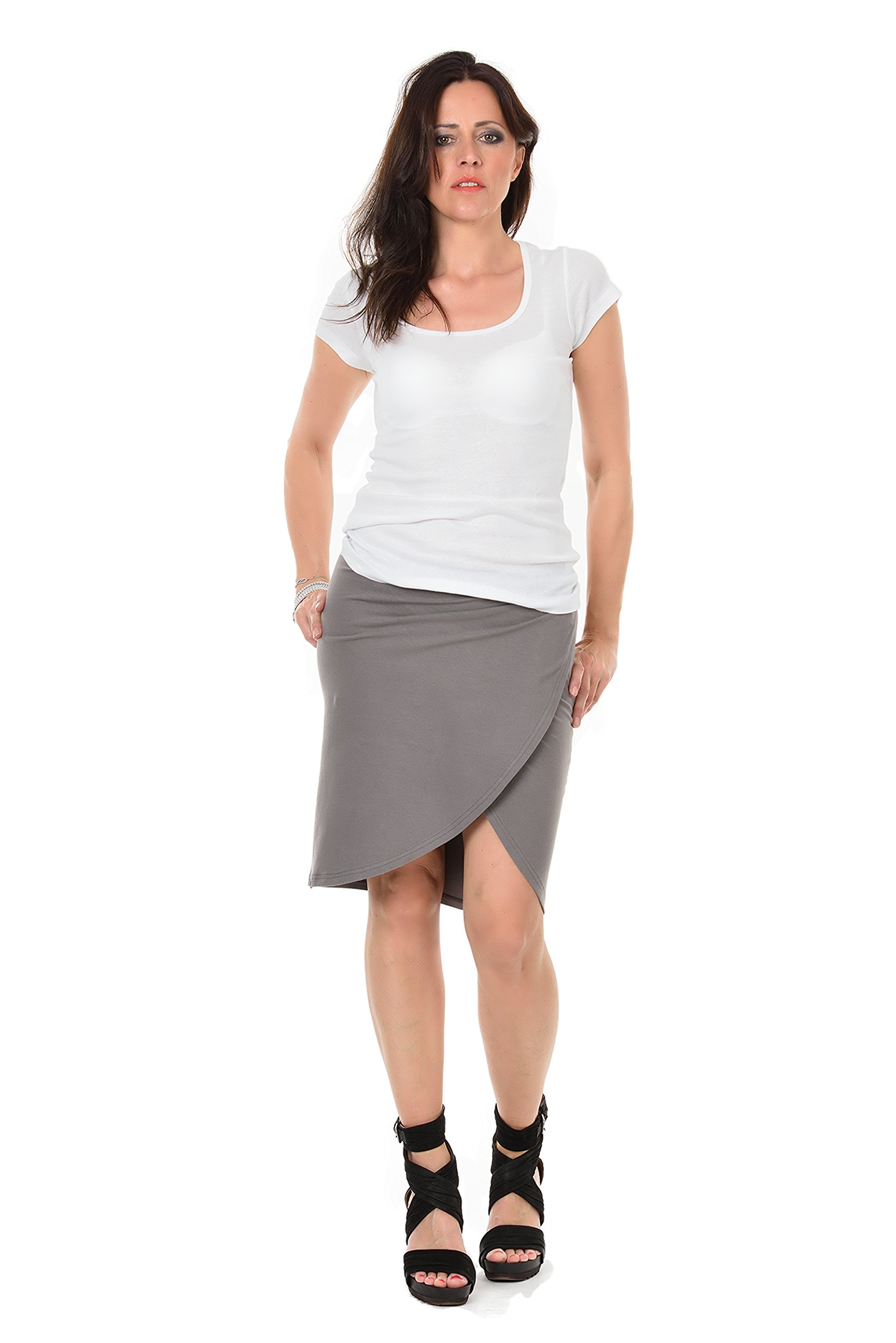 Summer Skirt Wrap Style Knee-Long designed by 3Elfen, grey L woman cloth