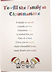 to All The Family at Christmastime, Pack of 5 - Cute Christmas Luxury Greetings Cards by Clarabelle Cards 5 x 7 inches