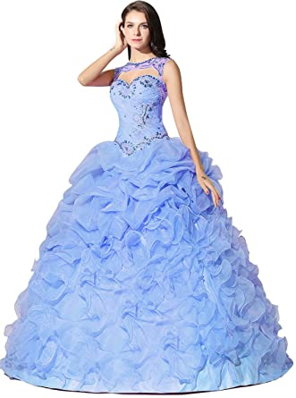 da8421eff9 Onlybridal Women s Ruffle Organza Evening Gowns for Women Beaded Detachable  Jacket Ball Gown Quinceanera Blue
