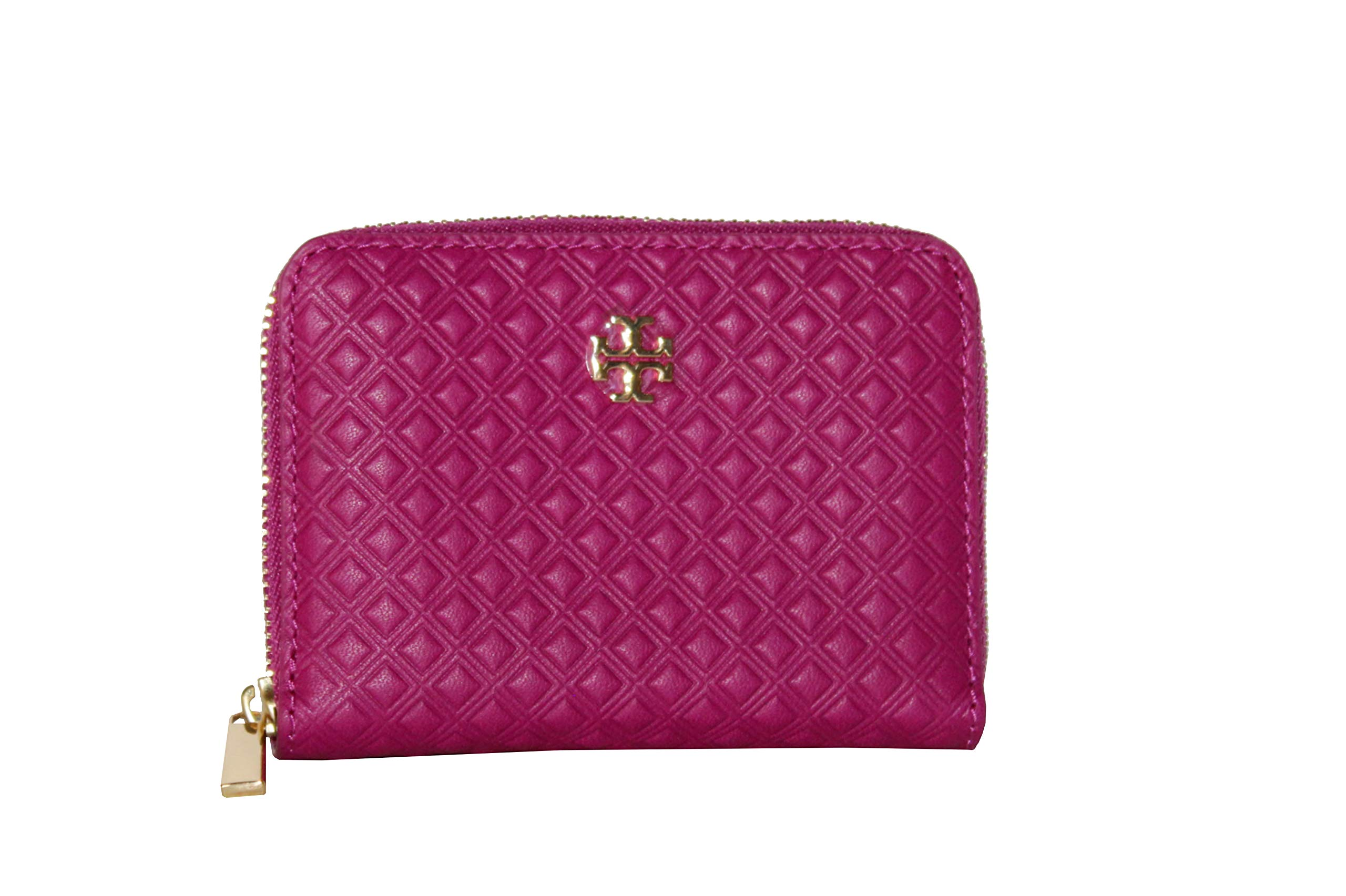 Tory Burch Marion Embossed Zip Coin Case Wallet (Party Fuschia)