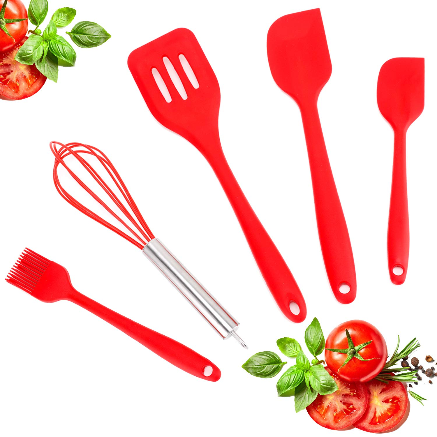 Silicone Kitchen Utensils Set, Premium 5 pcs Heat-Resistant Silicone Cooking Utensils, Non-Stick Kitchen Utensils-Baking BBQ Cooking Tool Kit With Spatula, Basting Brush,Whisk and Turner(red) Distana